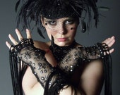 Custom Made Deluxe Black Feather Beaded Cocktail Hat By Taissa Lada,Black Dotted Veiling,Floating Black Feathers,Millinery Flower,Vaudeville