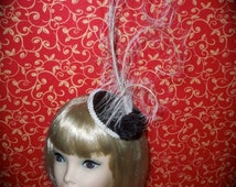 Custom Made White and Black Feather Cocktail Hat By Taissa Lada,Long Curled White Egret Feathers, Circular Hat,Vintage Inspired Cocktail Hat