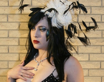 Custom Made White and Black Feather Fascinator By Taissa Lada,Bridal Headpiece,Royal Ascot,Great Gatsby,Bridal Headpiece,Drag Queen,Flapper