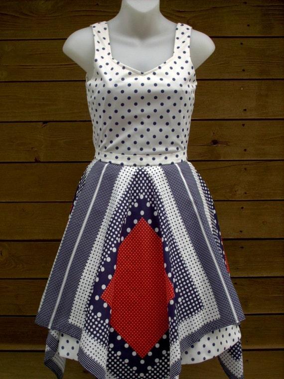 swiss dot dress - novelty print dress - red white blue - Small - S - XS