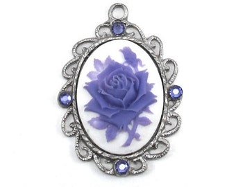 Single Neo Victorian 40x30mm Cameo Rose Pendant in Purple on White with Periwinkle Swarovski Crystal Accents