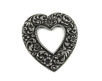 Large Open Puffy Heart Stamping / Pendant with Floral Motif in Antiqued Silver Plated over Brass - Neo Victorian, Romantic Boho, Art Nouveau