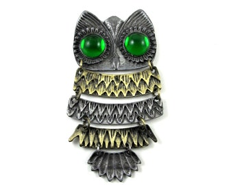 Large Owl Focal Piece with Segmented, Two-Toned, Mixed Metal Feathers and Green Eyes - Boho, Bohemian, Funky, Hipster
