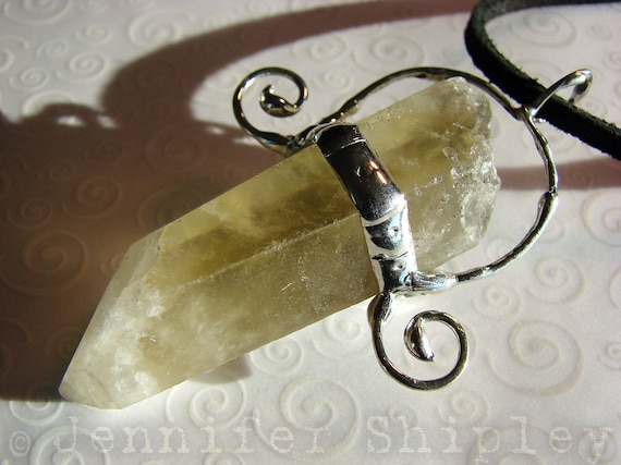 Citrine Crystal Pendant in Silver Swirls: Prosperity Necklace - Genuine, Untreated Citrine Point, Healing Jewelry for Shamanism, Meditation