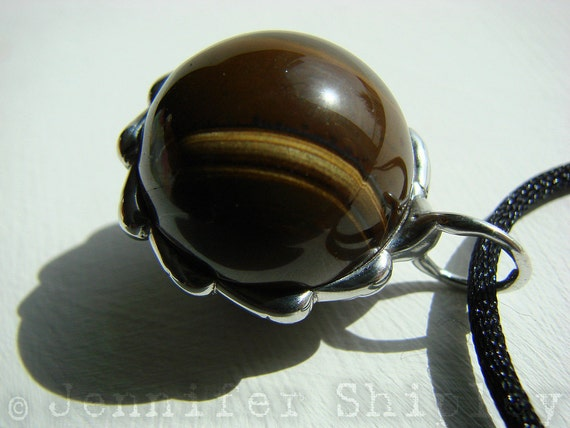 Tiger Eye Sphere Pendant: Healing Gemstone Ball Silver Necklace - Nickel Free Natural Jewelry for Protection