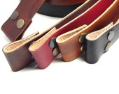 Custom cut leather snap belts for buckles, Hand dyed
