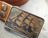 Vintage ship buckle. Handmade belt. Leather.