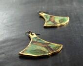 Little twig leather bell earrings