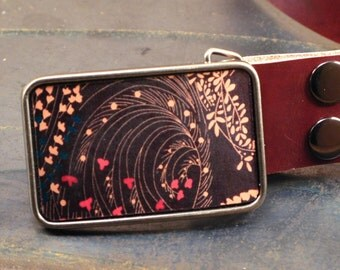 Floral belt buckle, Vintage Pattern, Flowers