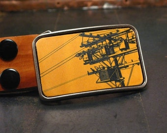 Men's belt buckle // Powerline Belt Buckle // The electric cityscape in vibrant yellow