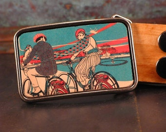 Bike inspired belt buckle. Bicycle. Leather. Belt. Handmade. Couple. Valentine's gift.