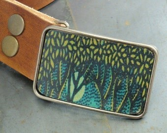 Forest buckle. Where the wild things are. leather belt buckle