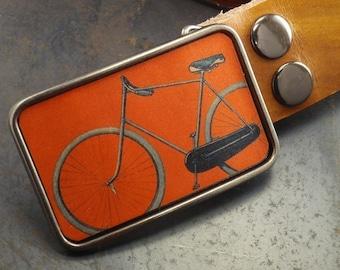 Bike belt buckle, Vintage bicycle, orange