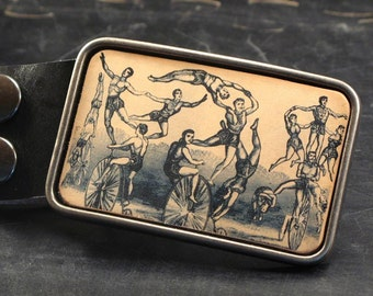 Circus belt buckle, The ring master leather belt buckle in tan