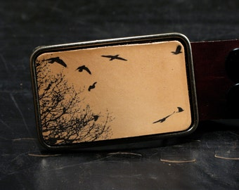 Flock of birds belt buckle-The migratory leather belt buckle in nude tan