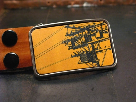 Men's belt buckle // Powerline Belt Buckle // The electric cityscape in vibrant yellow