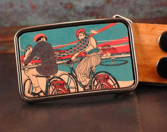 Bike inspired belt buckle. Bicycle. Leather. Belt. Handmade. Couple. Valentine's gift.