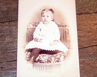Antique Photograph Pretty little Girl in High Button Shoes