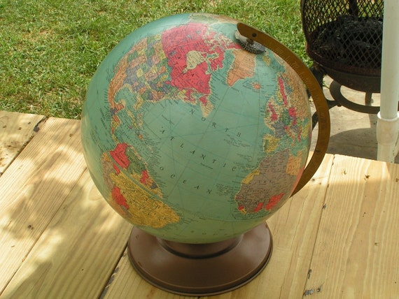 Vintage Replogle Globe on Metal Stand Base