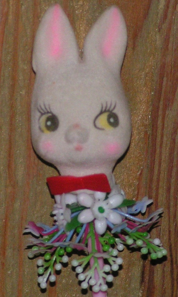 Kitsch Flocked Big Eyes Bunny Rabbit in Pink Flower Pot