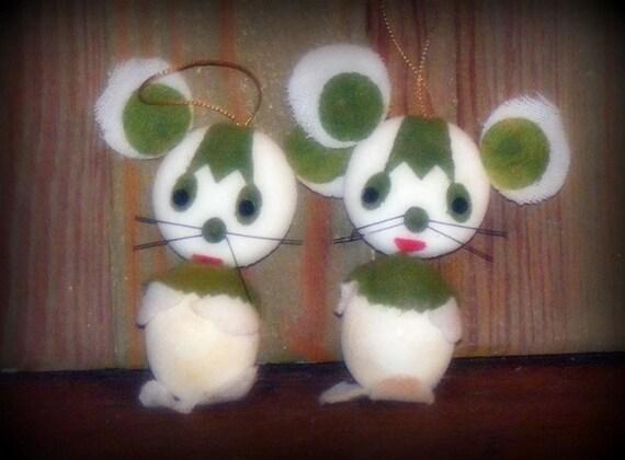 Vintage Flocked Big Ears Mice Ornaments