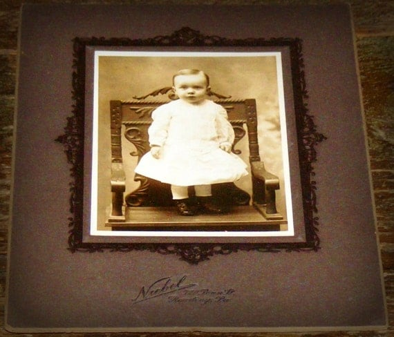 Victorian Era Photograph Sweet Child standing on Ornate Carved Chair