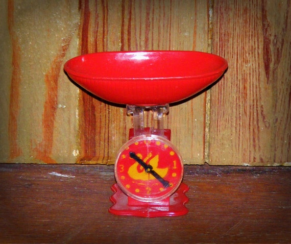 Vintage 1950s Red Play Scale Real Doll Scales with Swan Face Toy