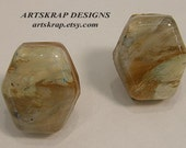 Cream Hexagon, Custom Knobs, Recycled Paint, Artskrap, Home Decor, Eco Design, Upcycled, Woodworking, Furniture, Art,