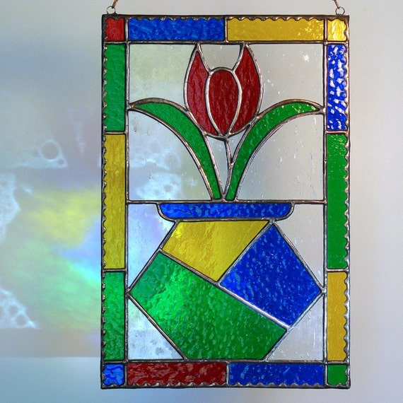 Tulip Vase Stained Glass Panel