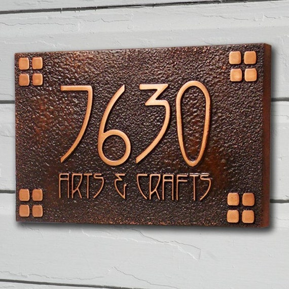 American craftsman address plaque home numbers bungalow style for Bungalow house numbers