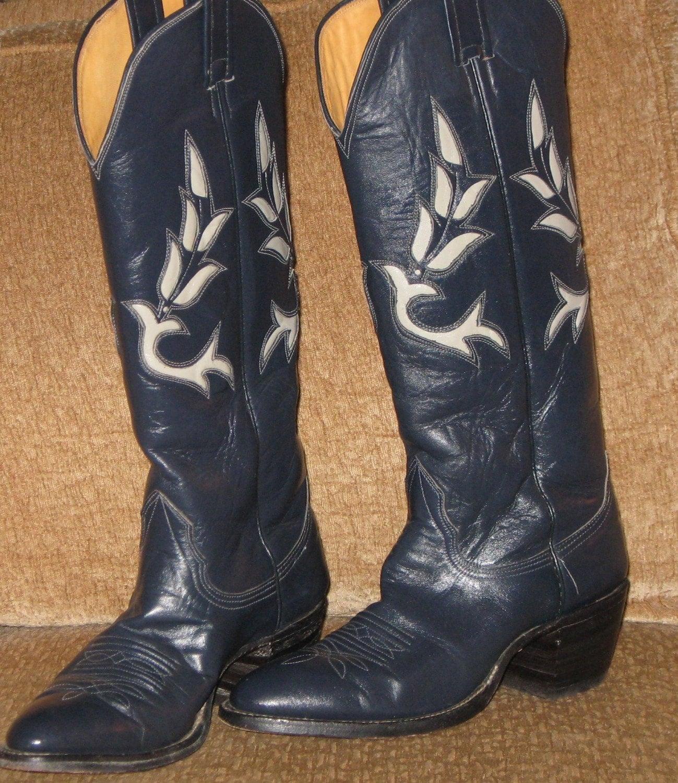 vintage s nocona navy blue cowboy boots