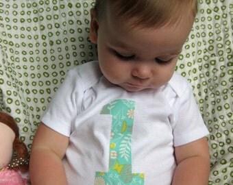 1 Onesie - Birthday Onesie Bodysuit - Baby Girl Onesie - Aqua with foliage and butterflies