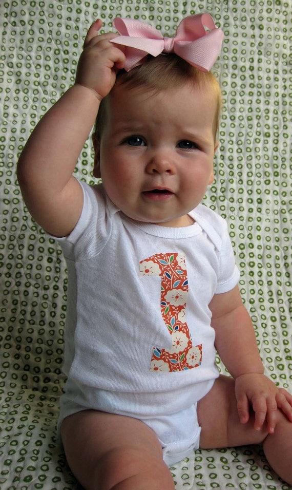 1 Onesie - Birthday Bodysuit - Baby Girl One Year Old Onesie Orange Katie Jump Rope Flowers