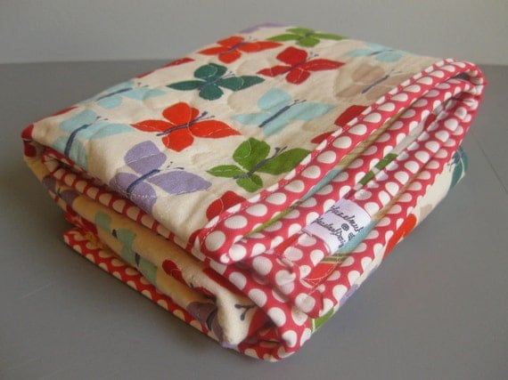 Stroller Quilt - Carseat Quilt - Blankie Lovey - Quilted Changing Mat - Modern butterflies and chevron