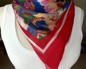 blue floral scarf with red border