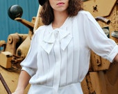 Vintage white pleated blouse with bow (tag size 12)