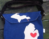 Michigan love navy & gingham applique saddle bag