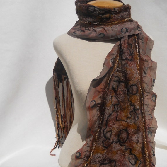 Nuno felt scarf in taupe, brown, gold  and black.