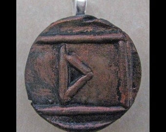 New Years Resolution,Cleansing, New Age,Wiccan,Viking,Pendant, Polymer Clay, Copper, Ancient Coin Style, Rune, THURISAZ,Change,Jewelry