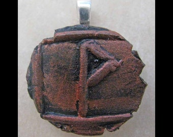 New Years Resolution,New Age, Wiccan,Viking,Pendant, Polymer Clay, Copper, Ancient Coin Style, Rune, WUNJO, Prosperity, Recognition