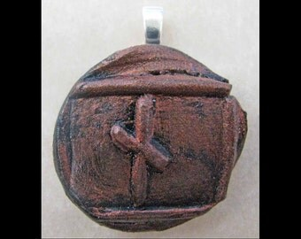 New Years Resolution,Patience, New Age,Wiccan,Viking, Pendant, Polymer Clay, Copper, Ancient Coin Style, Rune, NAUTHIZ,Determination,Jewelry