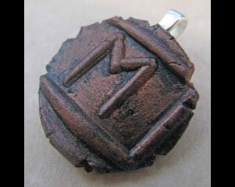 New Years Resolution, Marriage, New Age, Wiccan,Viking,Pendant, Polymer Clay, Copper, Ancient Coin Style, Rune, EHWAZ, Partnership