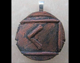New Years Resolution,Manifestation,New Age,Wicca,Viking,Pendant,Polymer Clay,Copper,Ancient Coin Style,Rune,KENAZ,Creativity,Jewelry