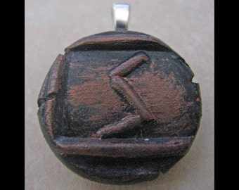 New Years Resolution,Victory, New Age,Wiccan,Viking,Pendant, Polymer Clay, Copper, Ancient Coin Style, Rune, SOWILO, Success,Health,Jewelry