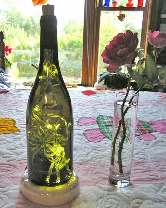 Lighted Wine Bottle - LED lights - Battery operated