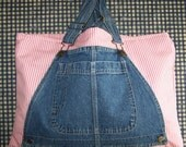 Handmade Jean Bib Overall Tote Market Book or Baby Bag Pink Stripes
