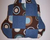 Handmade Mocha  Dots Rings Circles Denim Handbag Purse