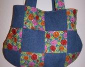 Handmade Funky Roses Denim Handbag Patchwork Purse