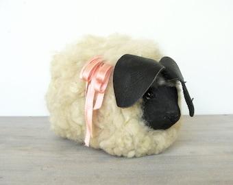 Vintage Handmade Wooden Sheep / Lamb, Wool Fleece