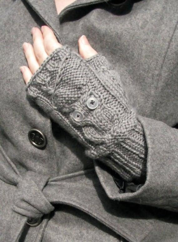 Custom knitted owl fingerless gloves